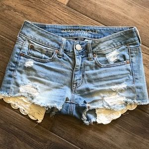 American Eagle Lace Pocket Shortie Shorts